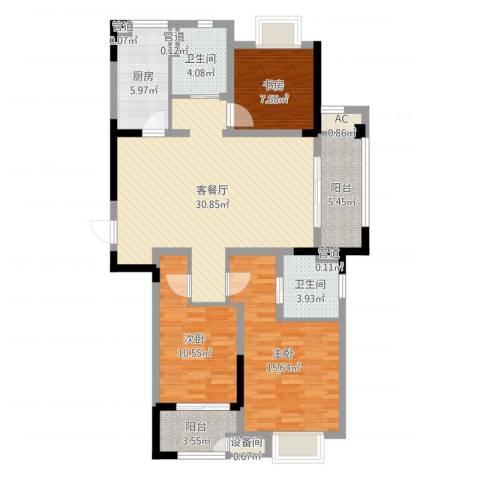 新城御景湾3室2厅2卫1厨112.00㎡户型图