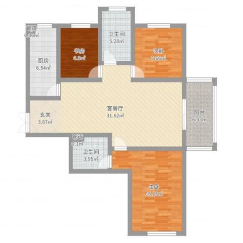 楚河花园3室2厅2卫1厨107.00㎡户型图