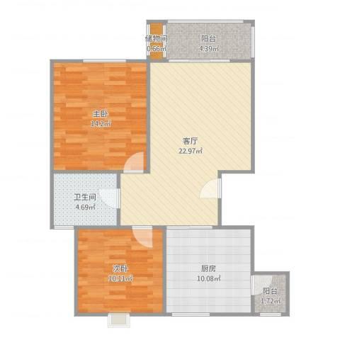 金榈湾2室1厅1卫1厨86.00㎡户型图