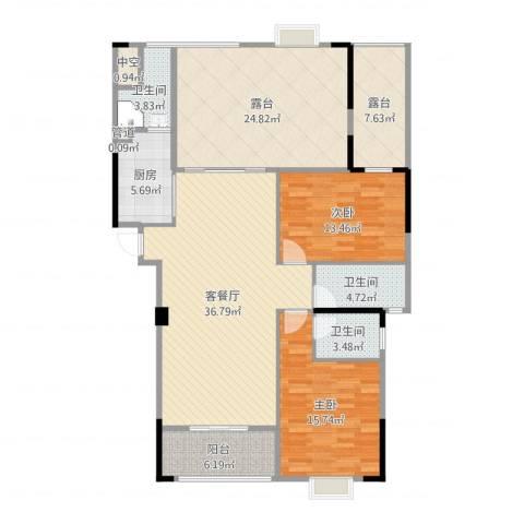 运河名都2室2厅3卫1厨154.00㎡户型图