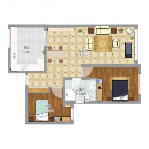 恒瑞 大湖山语2室2厅3卫1厨102.00㎡户型图