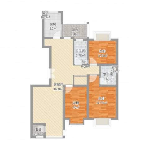 紫薇臻品3室2厅2卫1厨108.00㎡户型图