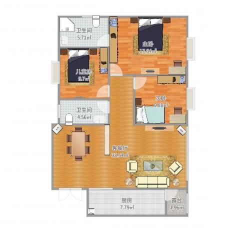 瑞丰铭城3室2厅2卫1厨120.00㎡户型图
