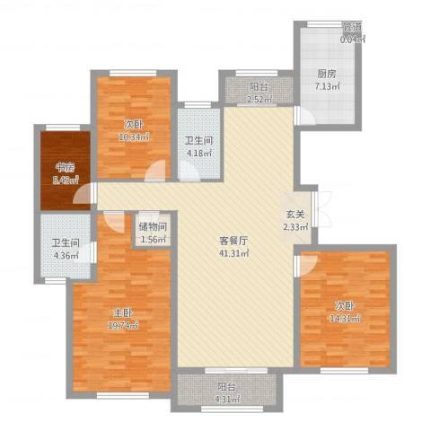 天房海天园4室2厅2卫1厨144.00㎡户型图
