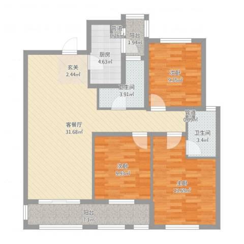 国宝星月湾3室2厅2卫1厨107.00㎡户型图