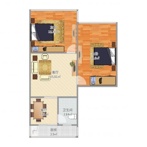 王家坝街B42室2厅1卫1厨85.00㎡户型图