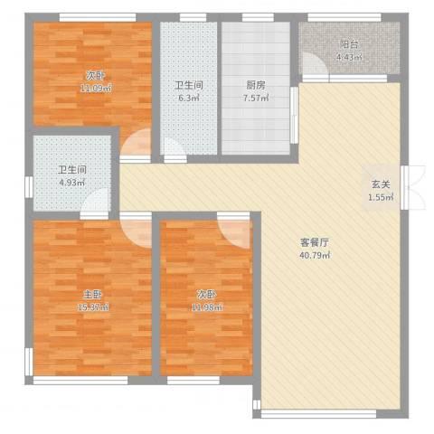 国宝星月湾3室2厅2卫1厨128.00㎡户型图