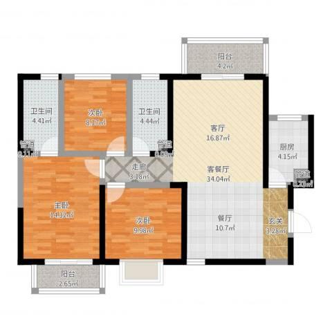 香缤国际城3室2厅2卫1厨108.00㎡户型图