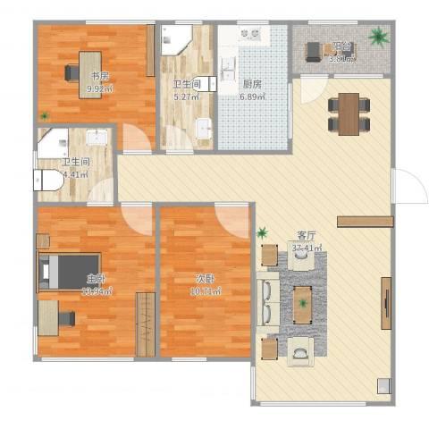 国宝星月湾3室1厅2卫1厨115.00㎡户型图