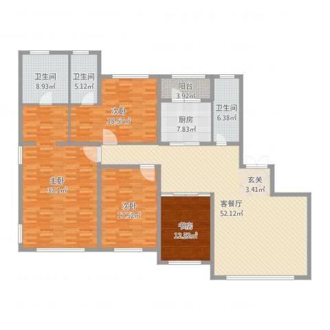 国宝星月湾4室2厅3卫1厨213.00㎡户型图