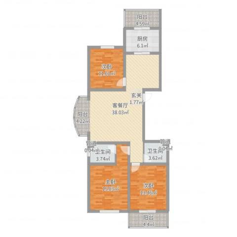 北方三角洲3室2厅2卫1厨100.86㎡户型图