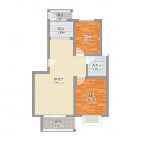正康花园2室2厅1卫1厨76.00㎡户型图