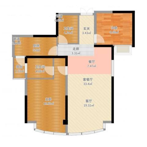 红谷凯旋2室2厅2卫1厨94.00㎡户型图