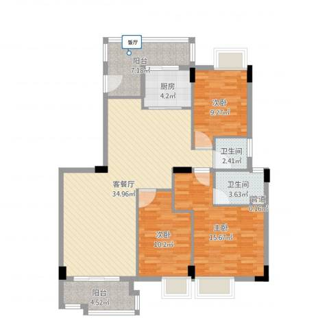 银汇华庭3室2厅2卫1厨115.00㎡户型图