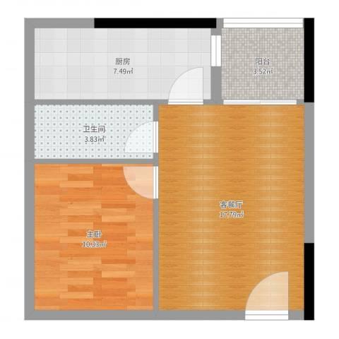 天伦海苑1室2厅1卫1厨54.00㎡户型图