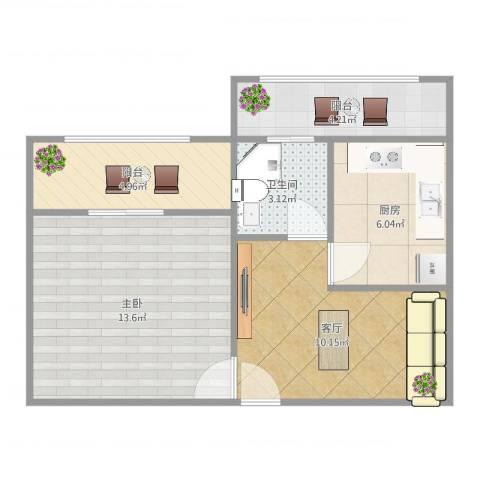 世纪非凡怡园1室1厅1卫1厨53.00㎡户型图