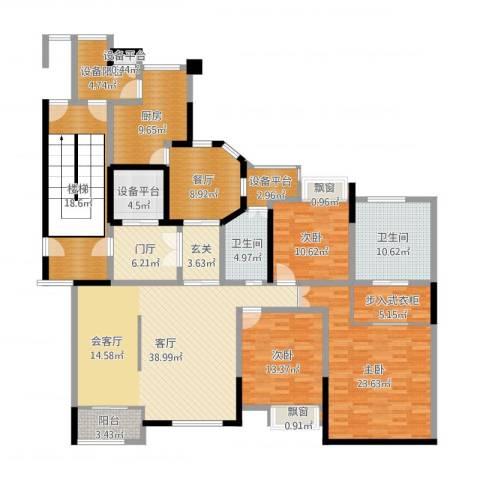东方海德堡3室2厅2卫1厨215.00㎡户型图