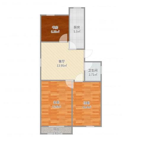 象牙新村3室1厅1卫1厨68.00㎡户型图
