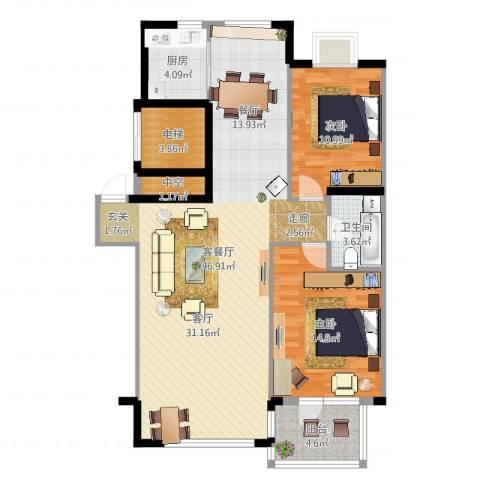 中央公馆2室2厅1卫1厨113.00㎡户型图