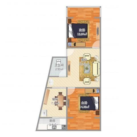 王家坝街B42室2厅1卫1厨77.00㎡户型图