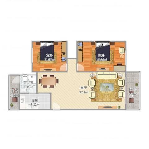 爱法新都2室1厅1卫1厨105.00㎡户型图