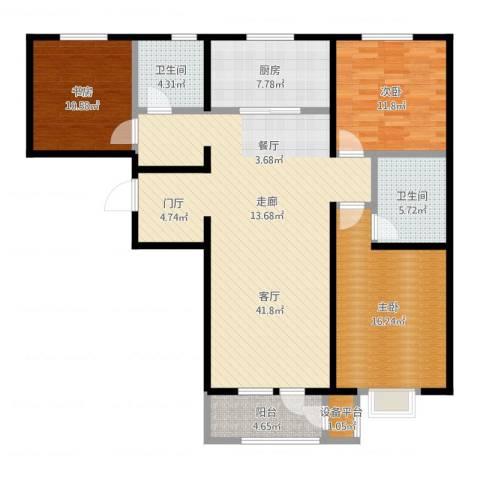 润达万科金域蓝湾3室1厅3卫1厨130.00㎡户型图