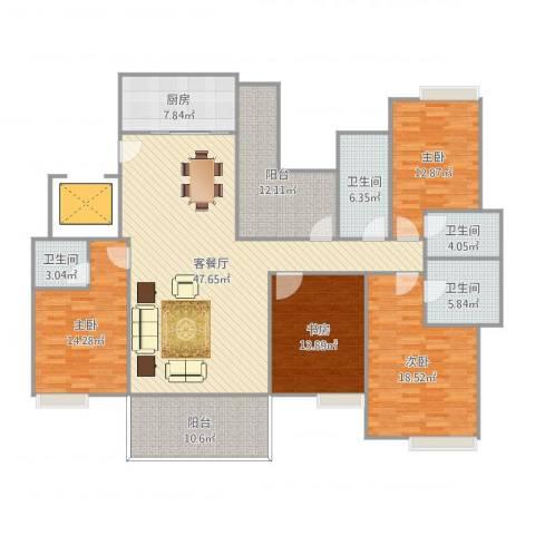 远洋城万象花园4室2厅4卫1厨196.00㎡户型图