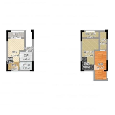 同景跃城1室1厅1卫1厨62.00㎡户型图