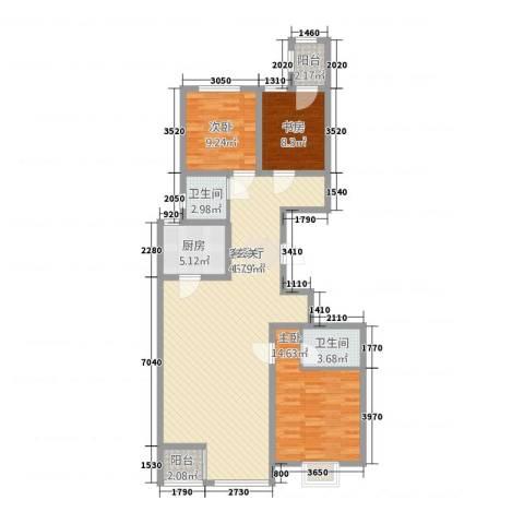 花香维也纳3室2厅2卫1厨136.00㎡户型图