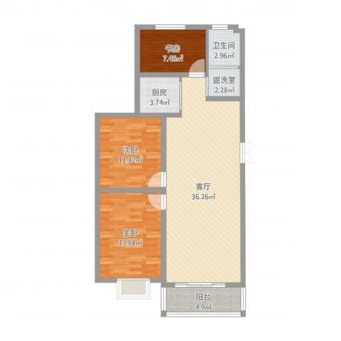 书香园3室3厅1卫1厨104.00㎡户型图