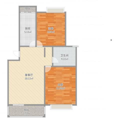 嘉城新航域2室2厅1卫1厨68.00㎡户型图