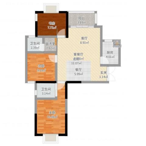 万和源居3室2厅2卫1厨91.00㎡户型图