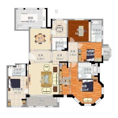华润中央公园37#3室2厅4卫1厨243.00㎡户型图