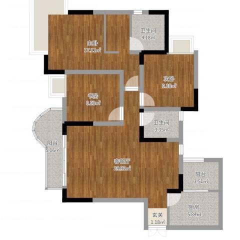 逸静丰豪3室2厅2卫1厨109.00㎡户型图