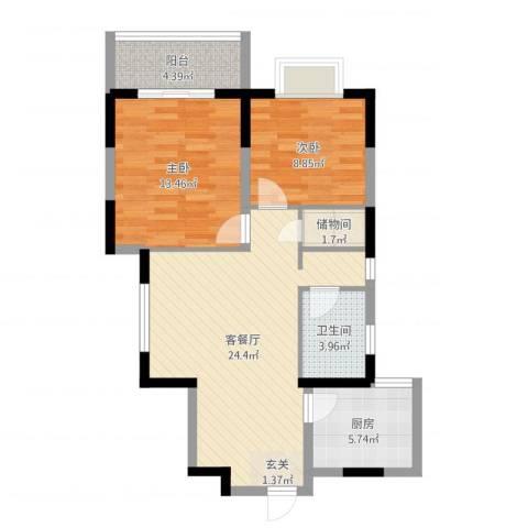紫郡观澜(西玛住宅小区)2室2厅1卫1厨78.00㎡户型图