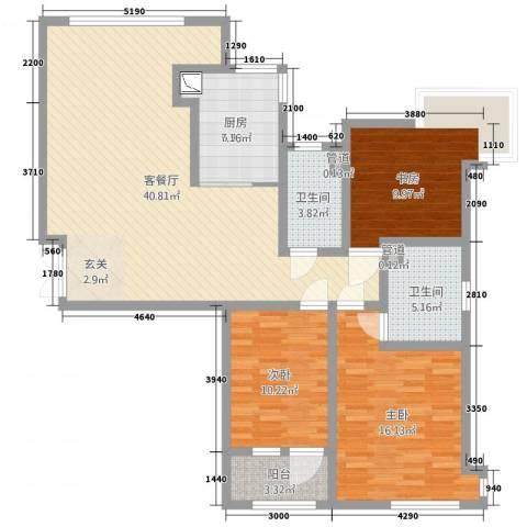 天马相城四期3室2厅2卫1厨134.00㎡户型图