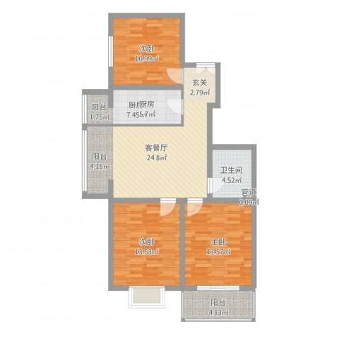 北方三角洲3室2厅2卫1厨79.77㎡户型图