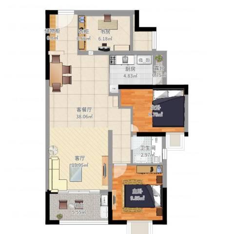 和润家园3室2厅1卫1厨96.00㎡户型图