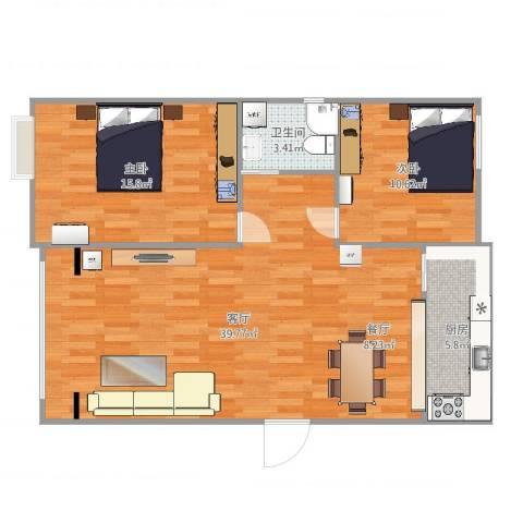 金色福园2室1厅1卫1厨94.00㎡户型图