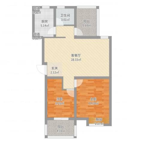冠达豪景东苑2室2厅1卫1厨88.00㎡户型图