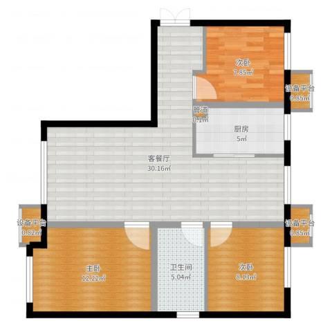 中交樾公馆3室2厅1卫1厨89.00㎡户型图