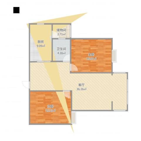微山金泰花园2室1厅1卫1厨103.00㎡户型图