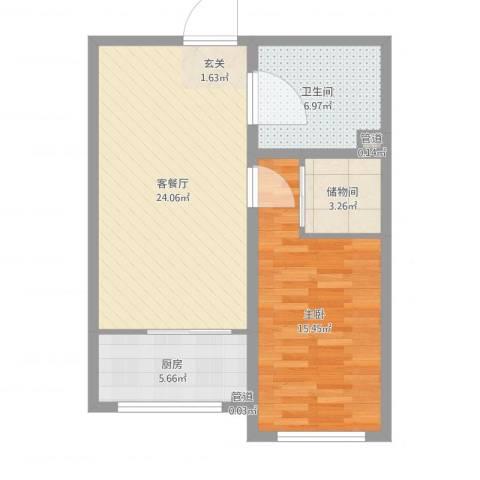 锦江花园五区1室2厅1卫1厨69.00㎡户型图