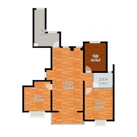 金泽苑3室2厅1卫1厨125.00㎡户型图