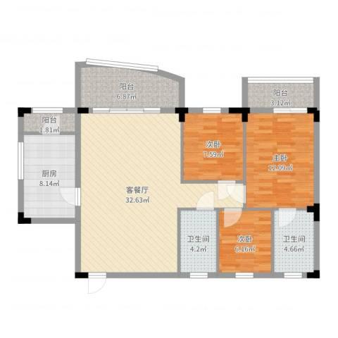 侨苑山庄3室2厅2卫1厨109.00㎡户型图