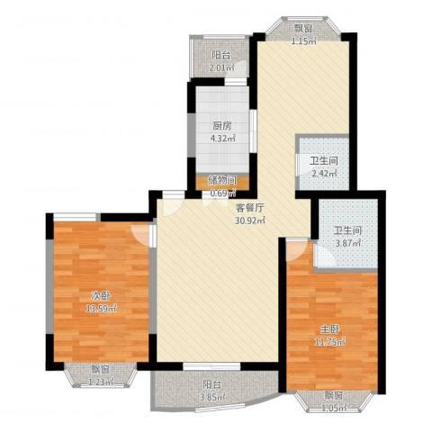 江信国际花园2室2厅2卫1厨92.00㎡户型图