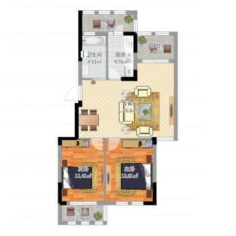 格兰春天2室2厅1卫1厨88.00㎡户型图