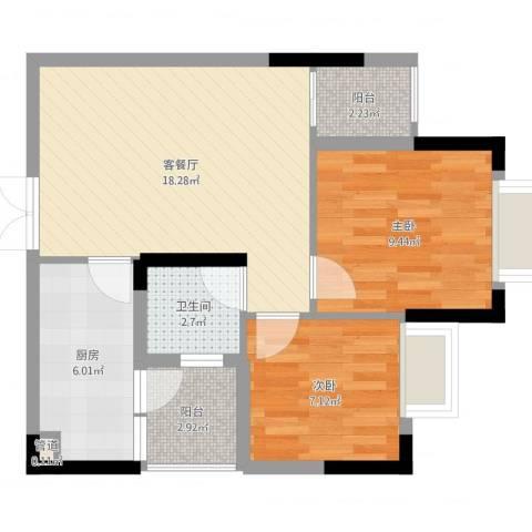 奥体中央公园2室2厅1卫1厨61.00㎡户型图