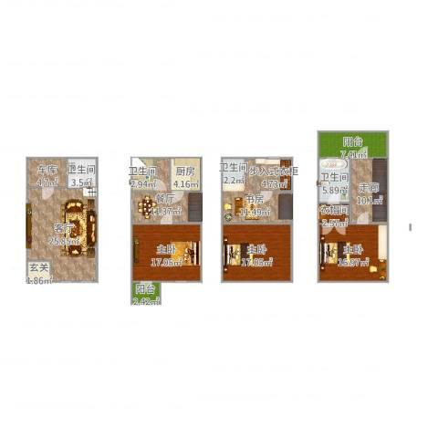 三盛颐景园4室2厅4卫1厨190.00㎡户型图