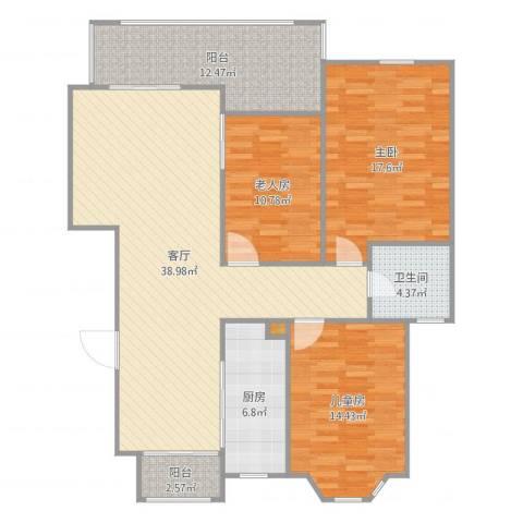 金王府3室1厅1卫1厨135.00㎡户型图